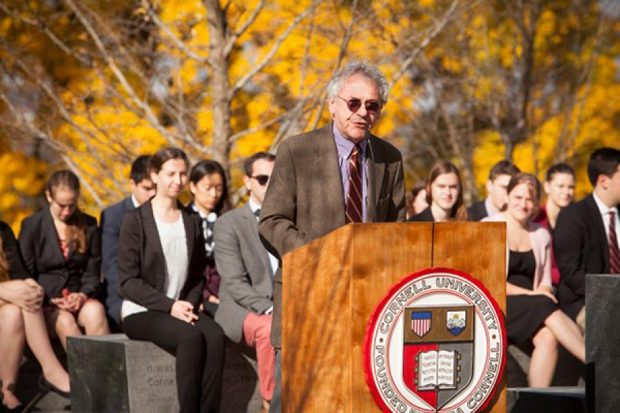 Isaac Kramnick speaks at the Sesquicentennial Grove Dedication in 2014.