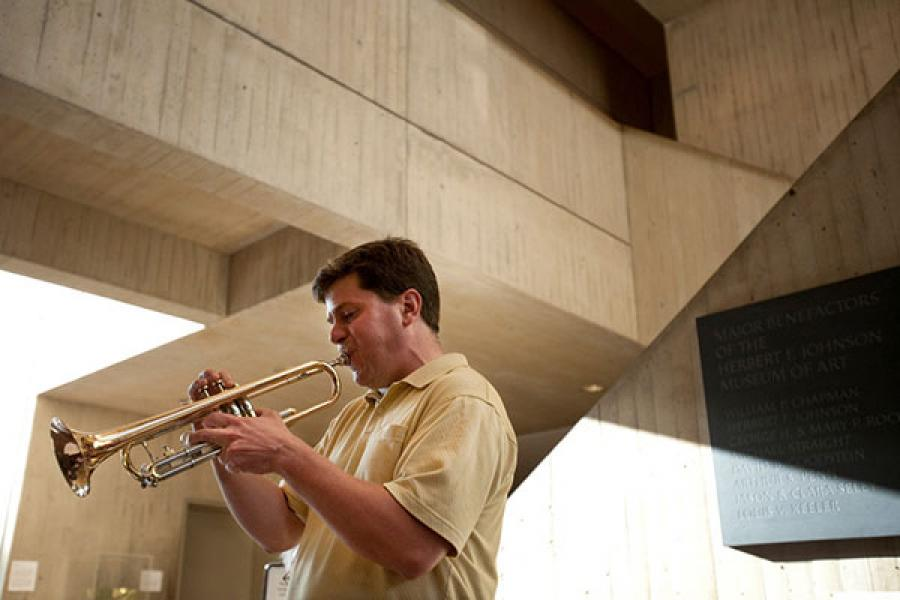 Paul Merrill playing trumpet