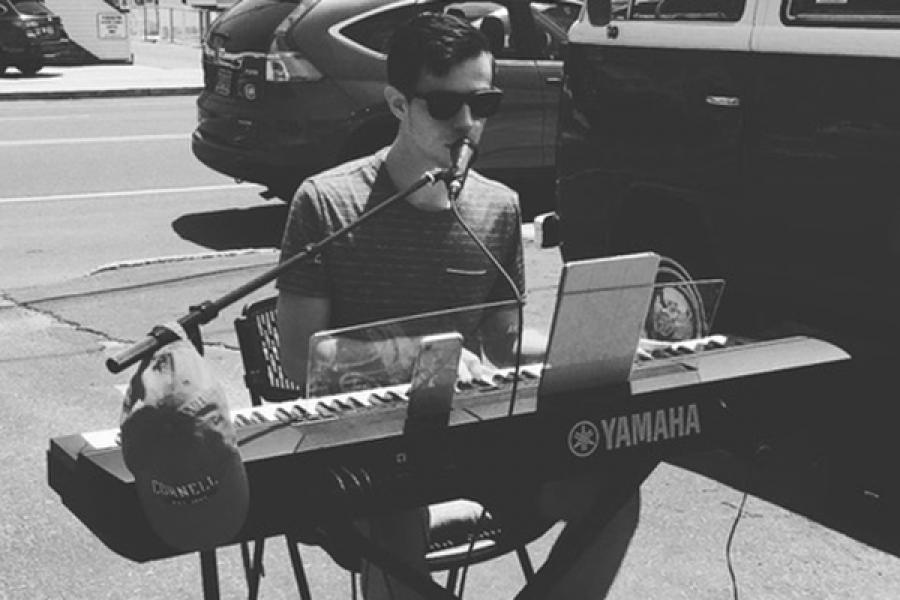 Robertson at the piano