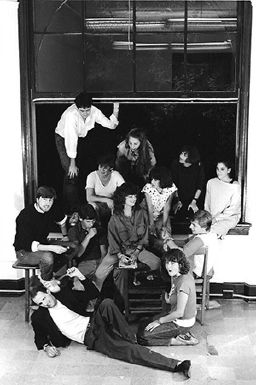 The Whistling Shrimp improv troupe in 1984