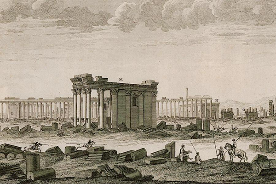 Antique drawing of an ancient building with columns