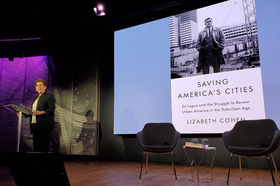 Lizabeth Cohen speaking at a lecturn