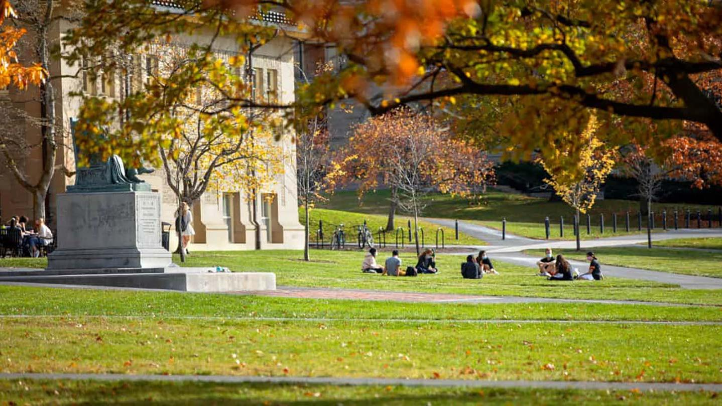 Students on the Arts Quad in fall